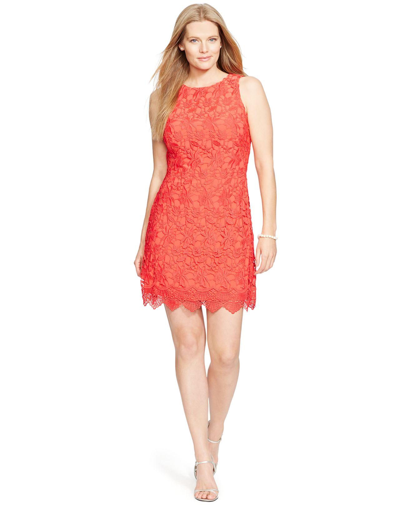 Lyst - Lauren by ralph lauren Plus Size Sleeveless Lace Dress in Red