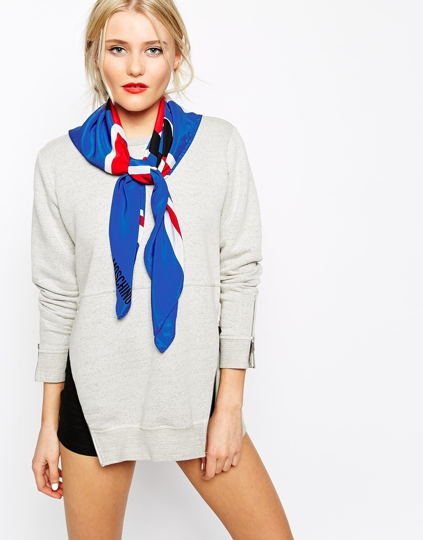 moschino uk smiley flag silk scarf in blue lyst