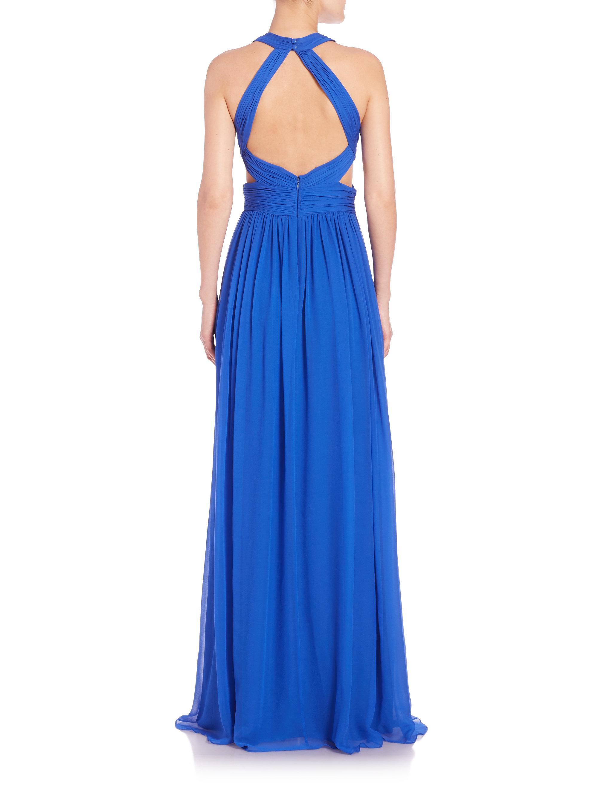 Aidan mattox Chiffon Halter Gown in Blue | Lyst
