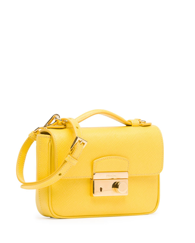 prada saffiano mini sound crossbody bag in yellow yellow