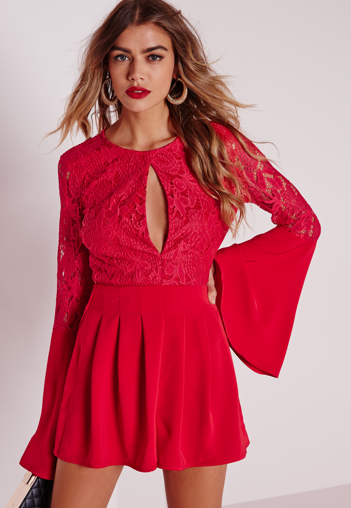 3d30f132bc Lyst - Missguided Lace Flute Sleeve Playsuit Red in Red