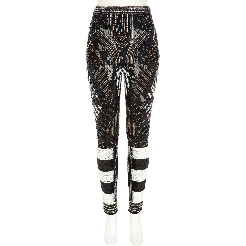 5e5bee1d6f2 River Island Black Embellished Skinny Pants in Black - Lyst