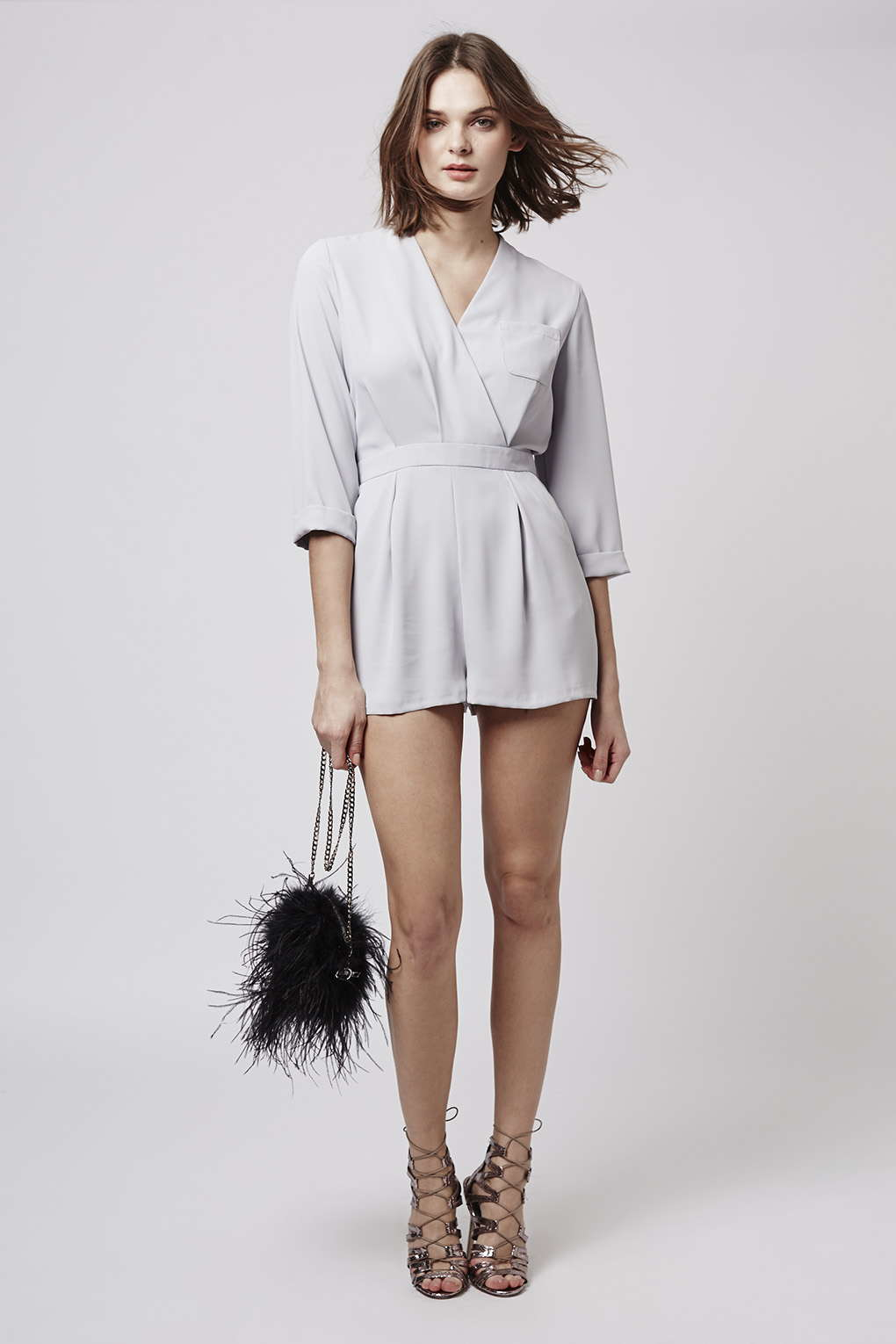 15f76155ce TOPSHOP Petite Drape Front Playsuit in Gray - Lyst