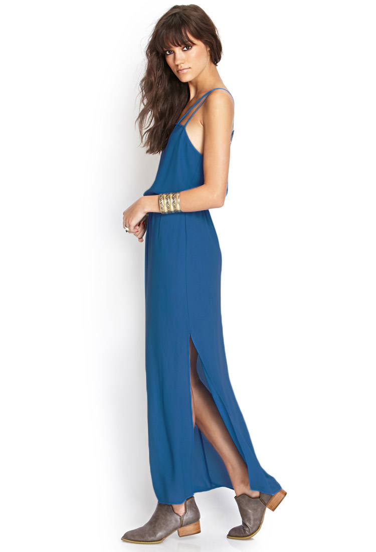 Blue caged chiffon dress
