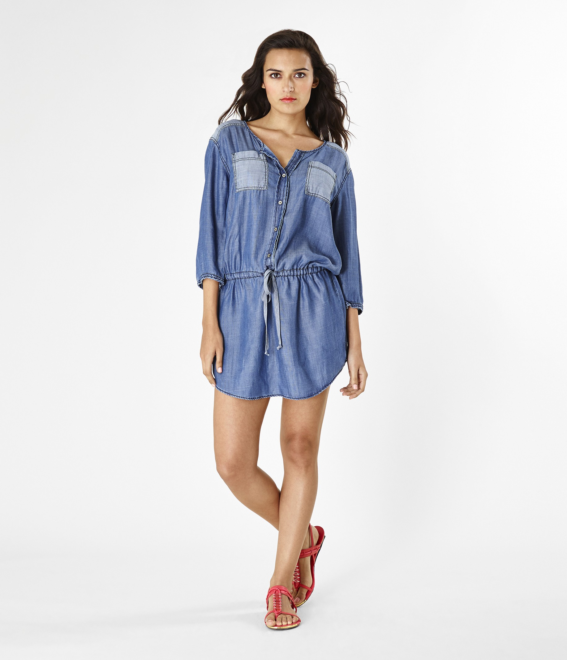 michael stars denim tencel shirt dress in blue lyst