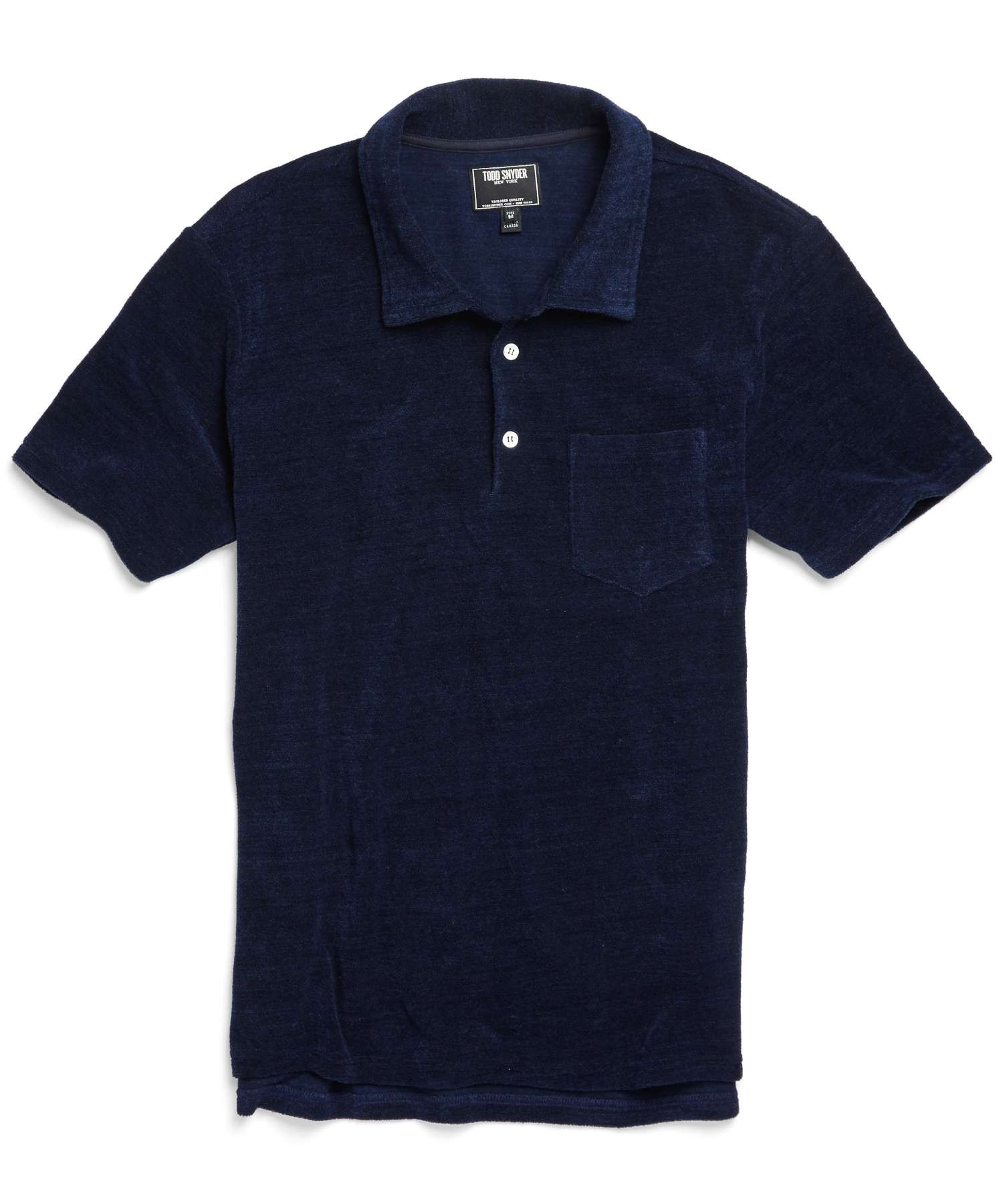 Todd snyder terry cloth polo in indigo in blue for men lyst for Terry cloth polo shirt