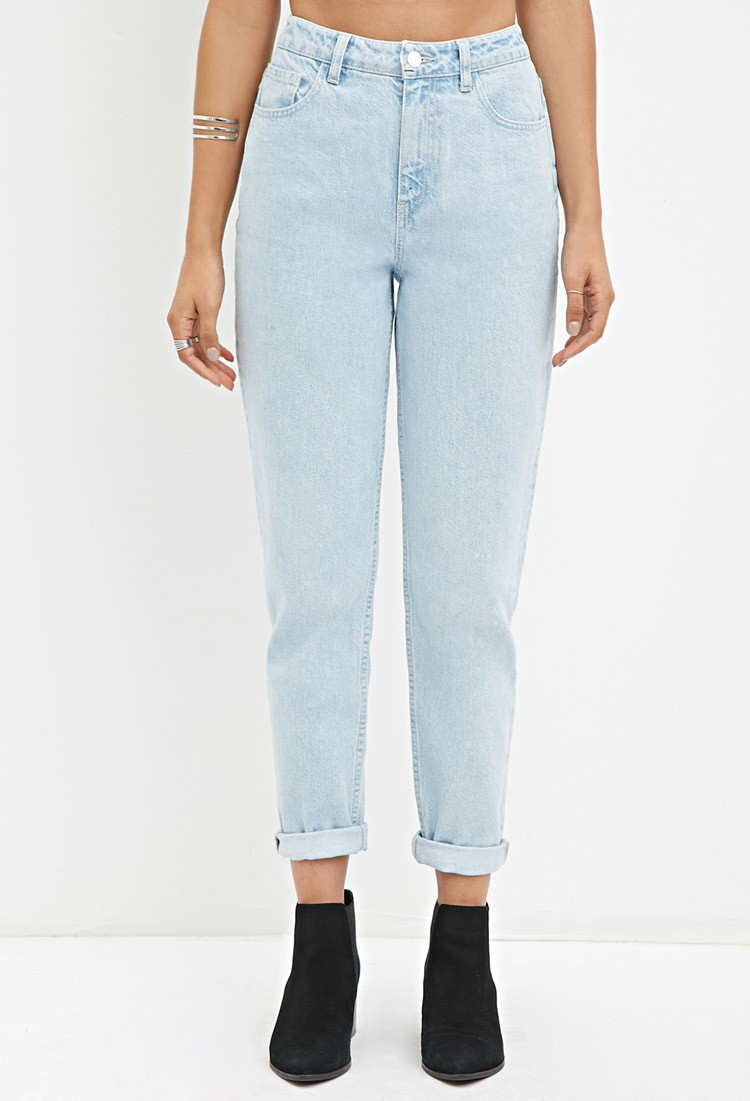 645358855c Forever 21 Cuffed Mom Jeans in Blue - Lyst