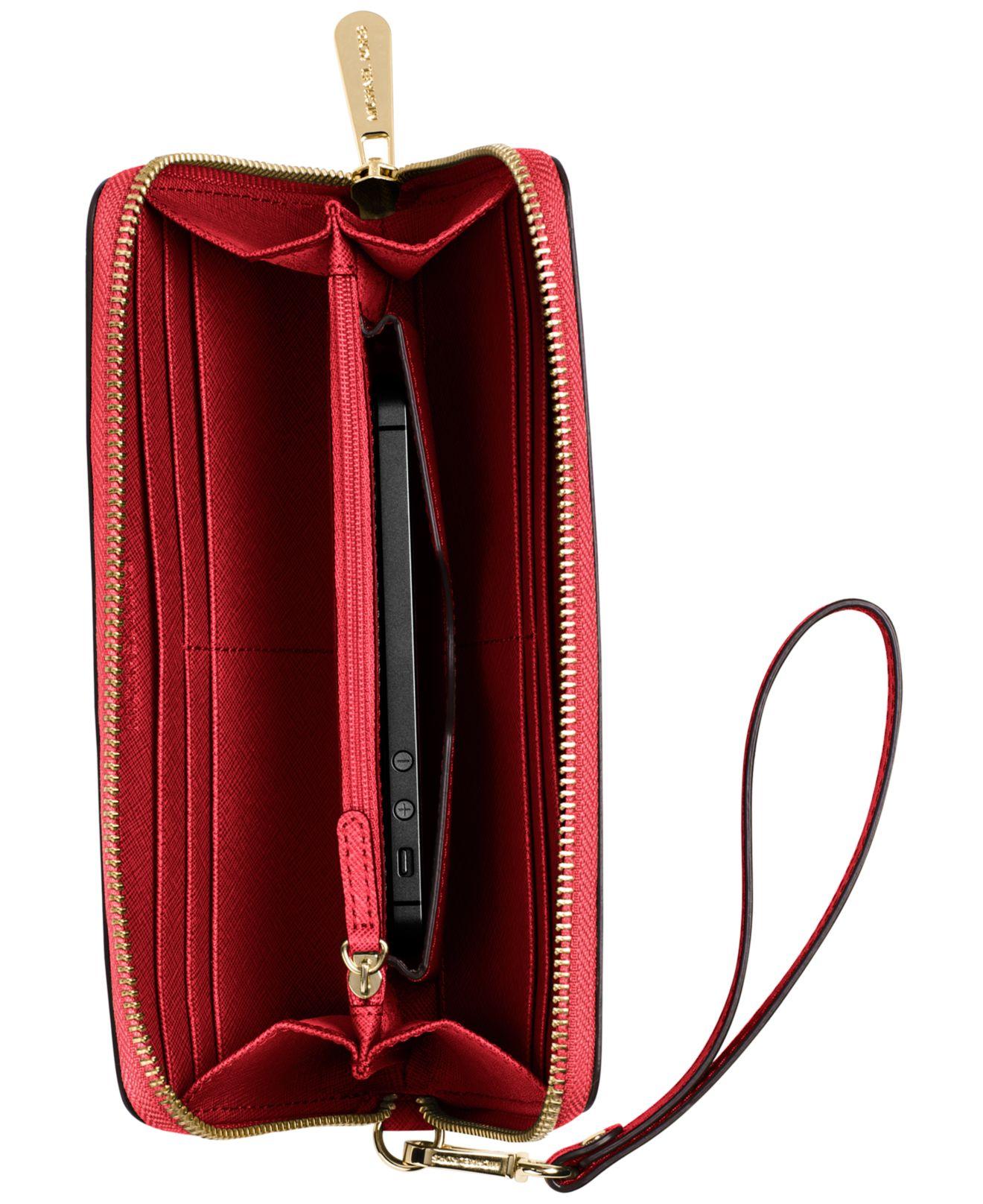 cd8c6d7f1a6d Michael Kors Michael Jet Set Travel Tech Continental Wallet in Red ...
