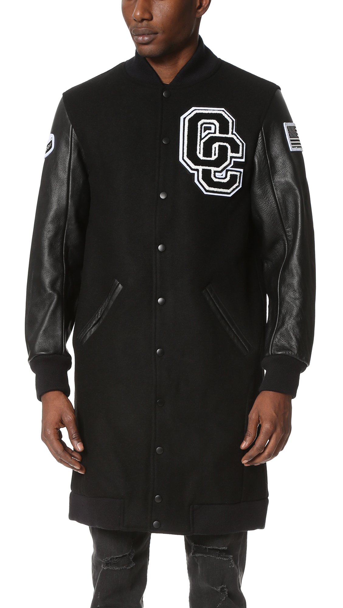 Opening Ceremony Oc Varsity Long Jacket In Black For Men