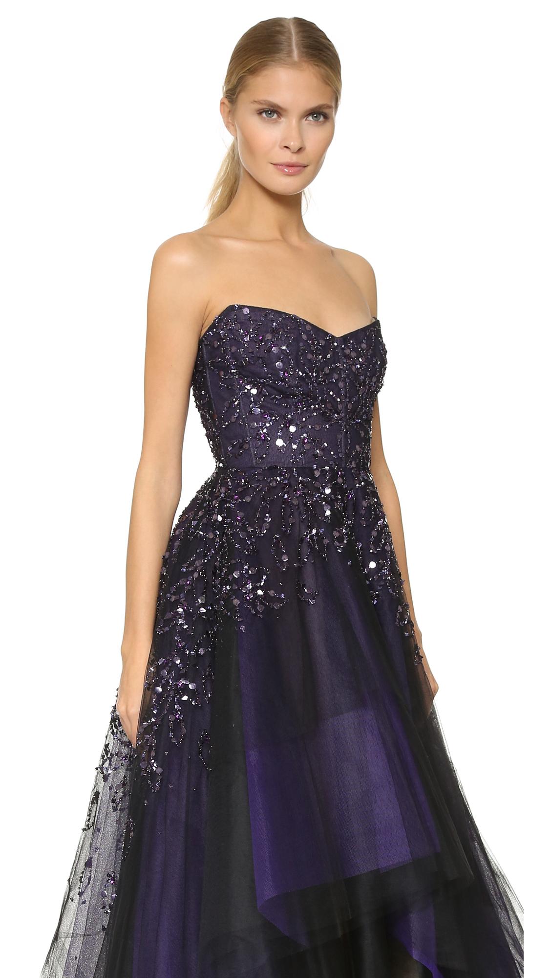 Monique Lhuillier Strapless Ball Gown - Deep Plum in Purple - Lyst