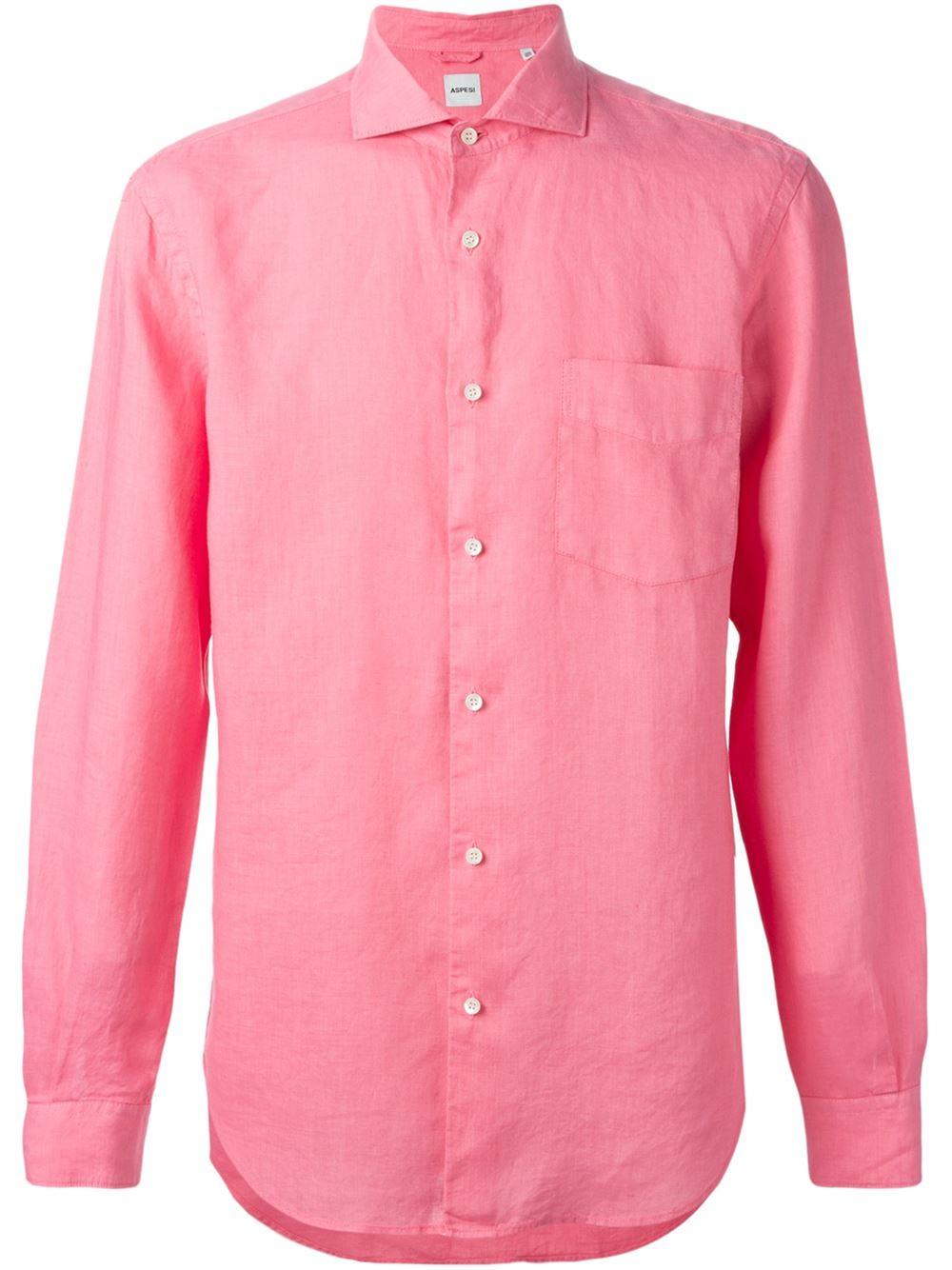 Aspesi spread collar shirt in pink for men pink purple for What is a spread collar shirt