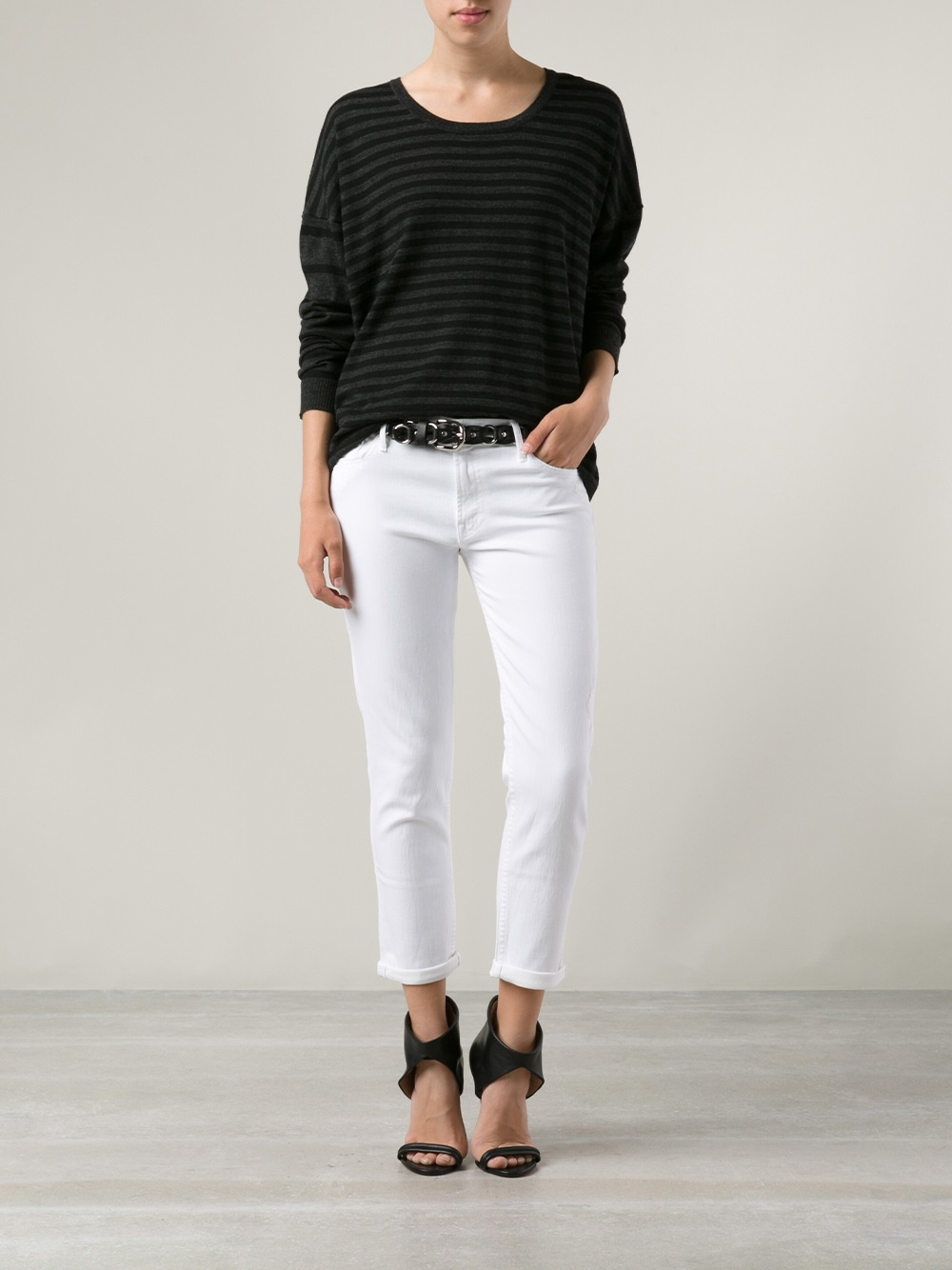 Mother Broken Mirror Dropout Jeans in White | Lyst