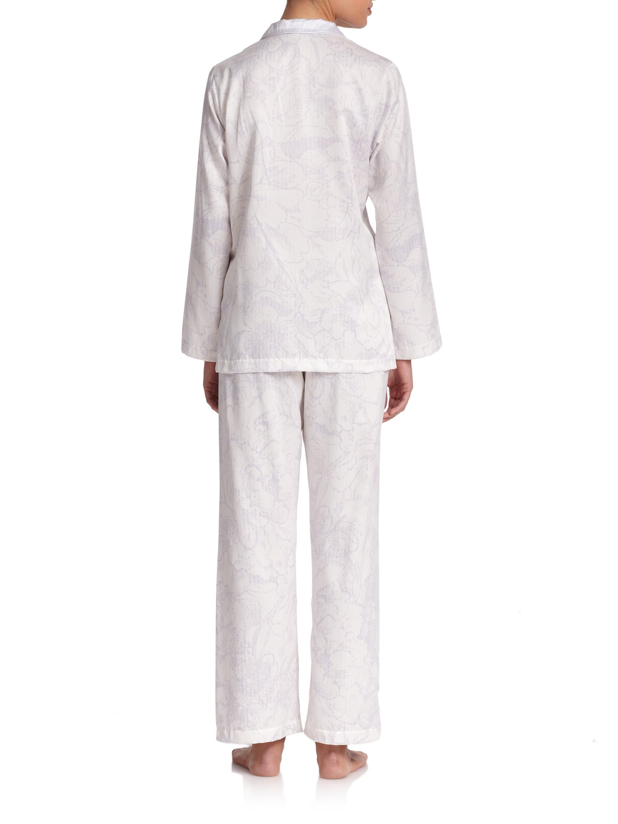 Lyst Oscar De La Renta Printed Brushed Back Satin Pajama Set in White