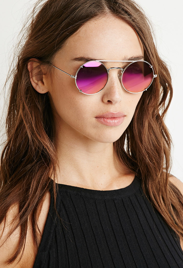 6bfd50834d Lyst - Forever 21 Double-bridge Round Sunglasses in Metallic