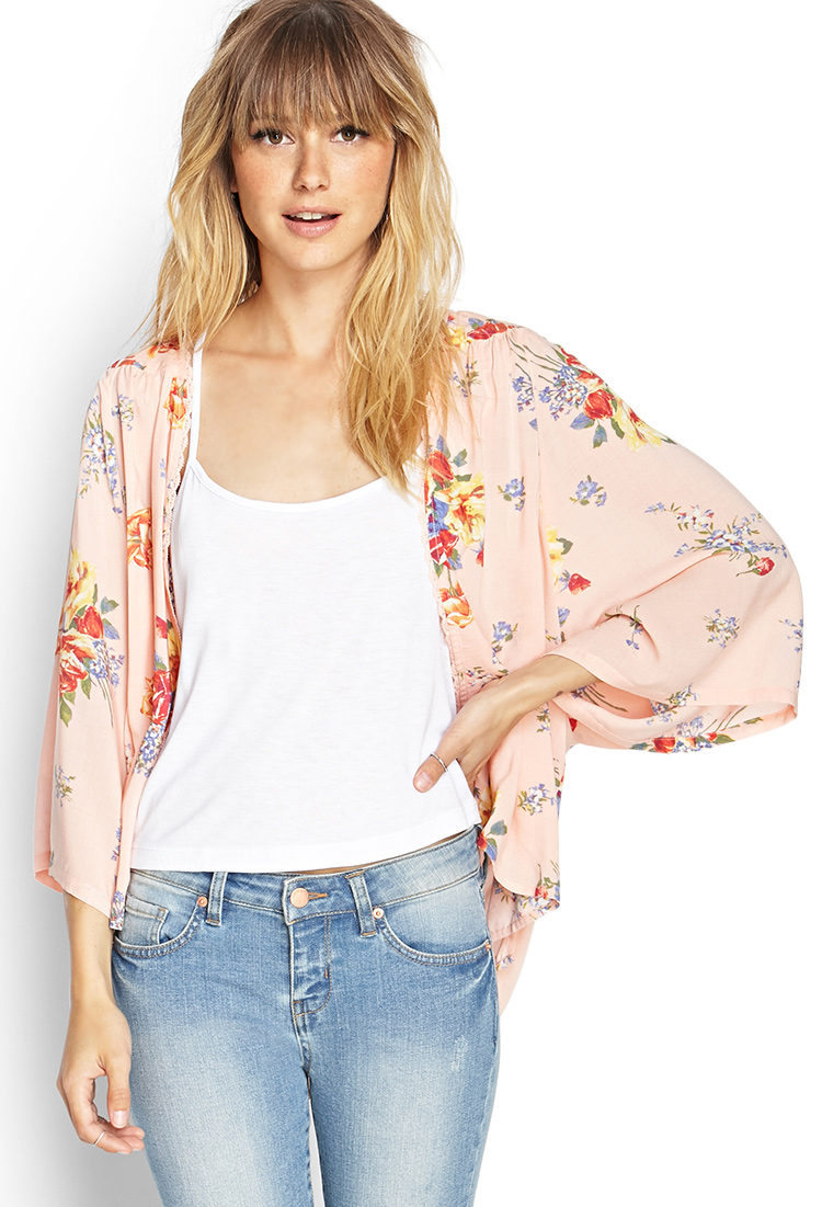 Forever 21 Floral Kimono Cardigan in Orange (PEACH/ORANGE ...