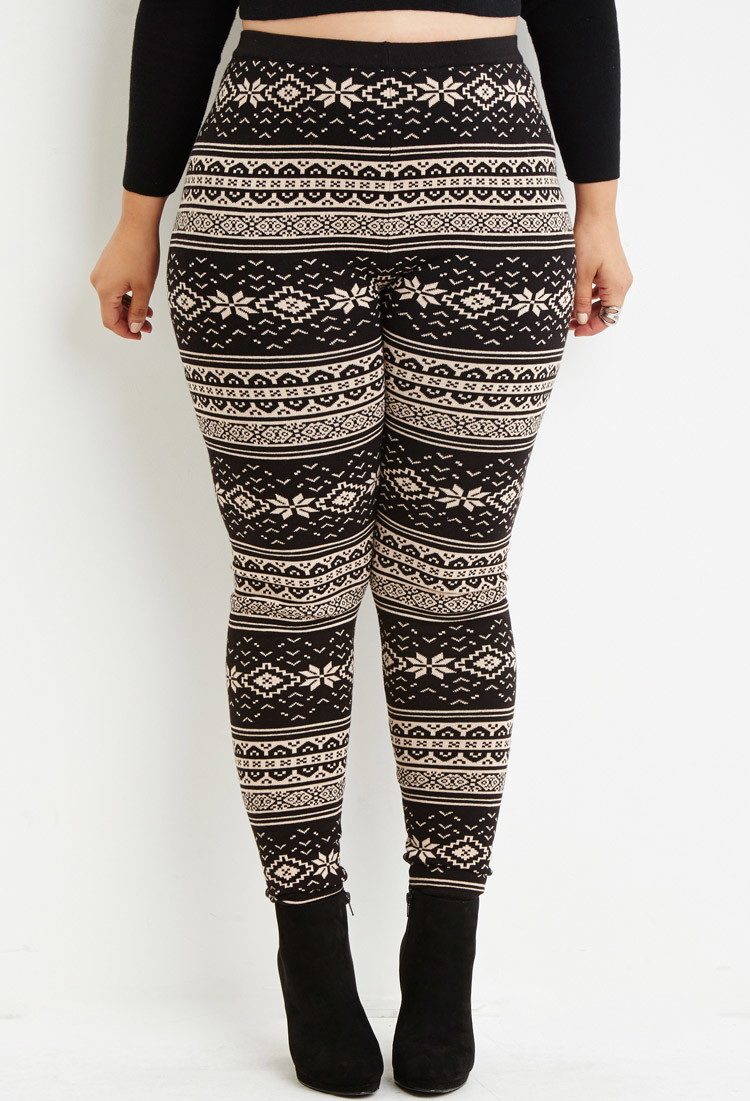 Forever 21 Fair Isle-patterned Leggings in Black | Lyst