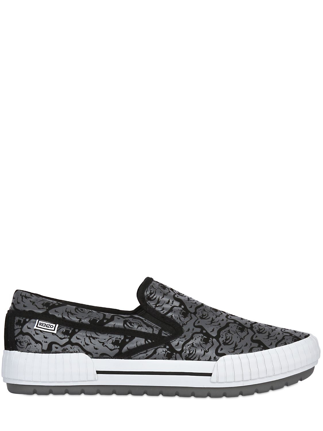 63e0049d Lyst - KENZO Tiger Heads Cotton Canvas Slip On Shoes in Black for Men