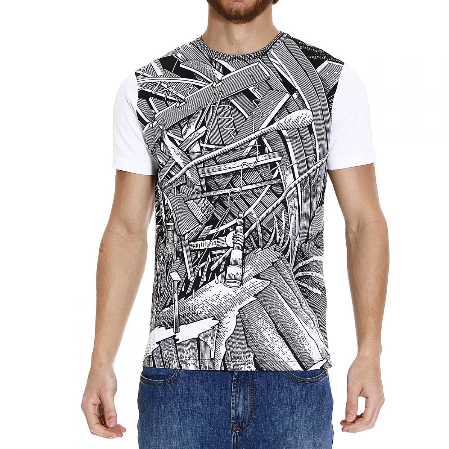 Frankie morello printed half sleeve crew neck t shirt in for Half sleeve t shirts for men