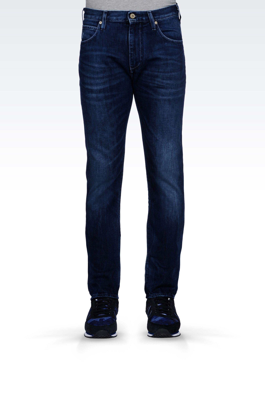 Armani Jeans Regular Fit Dark Vintage Wash Jeans In Blue For Men Lyst
