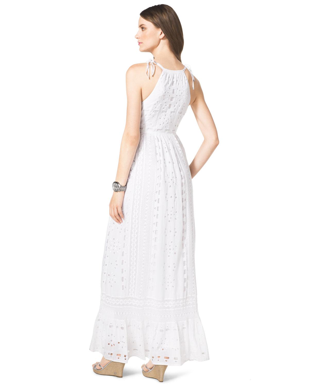 Michael kors Michael Cotton Eyelet Maxi Dress in White  Lyst