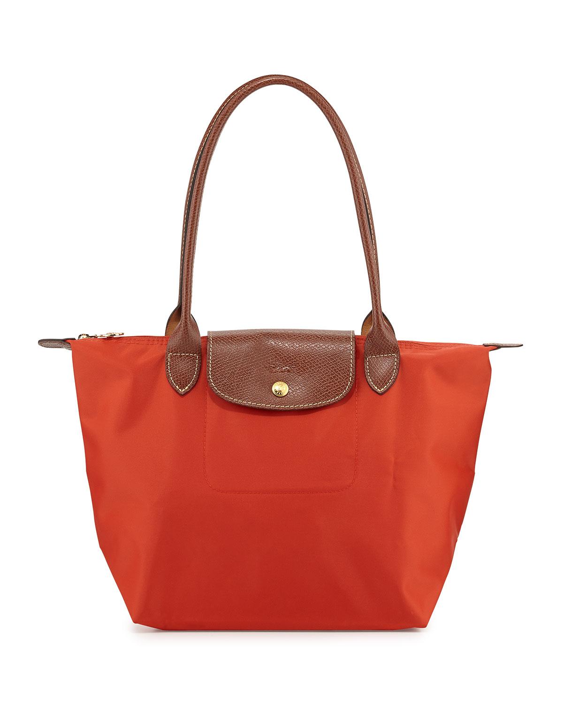 longch le pliage medium shoulder tote bag in poppy