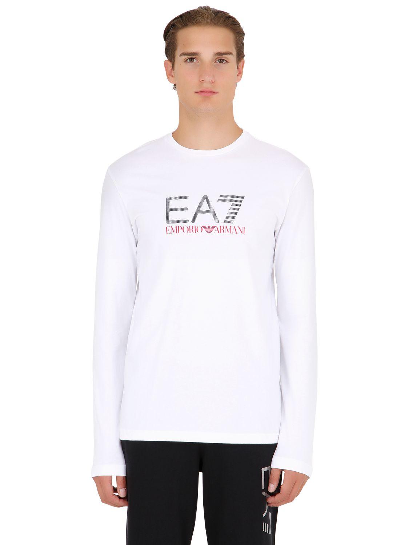 Ea7 train graph cotton long sleeve t shirt in white for for White cotton long sleeve t shirt