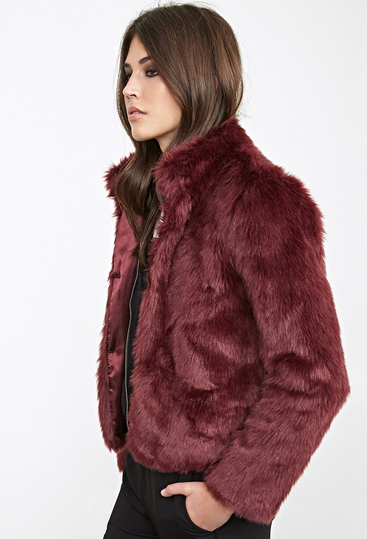 be0148283 Forever 21 Boxy Faux Fur Coat in Purple - Lyst