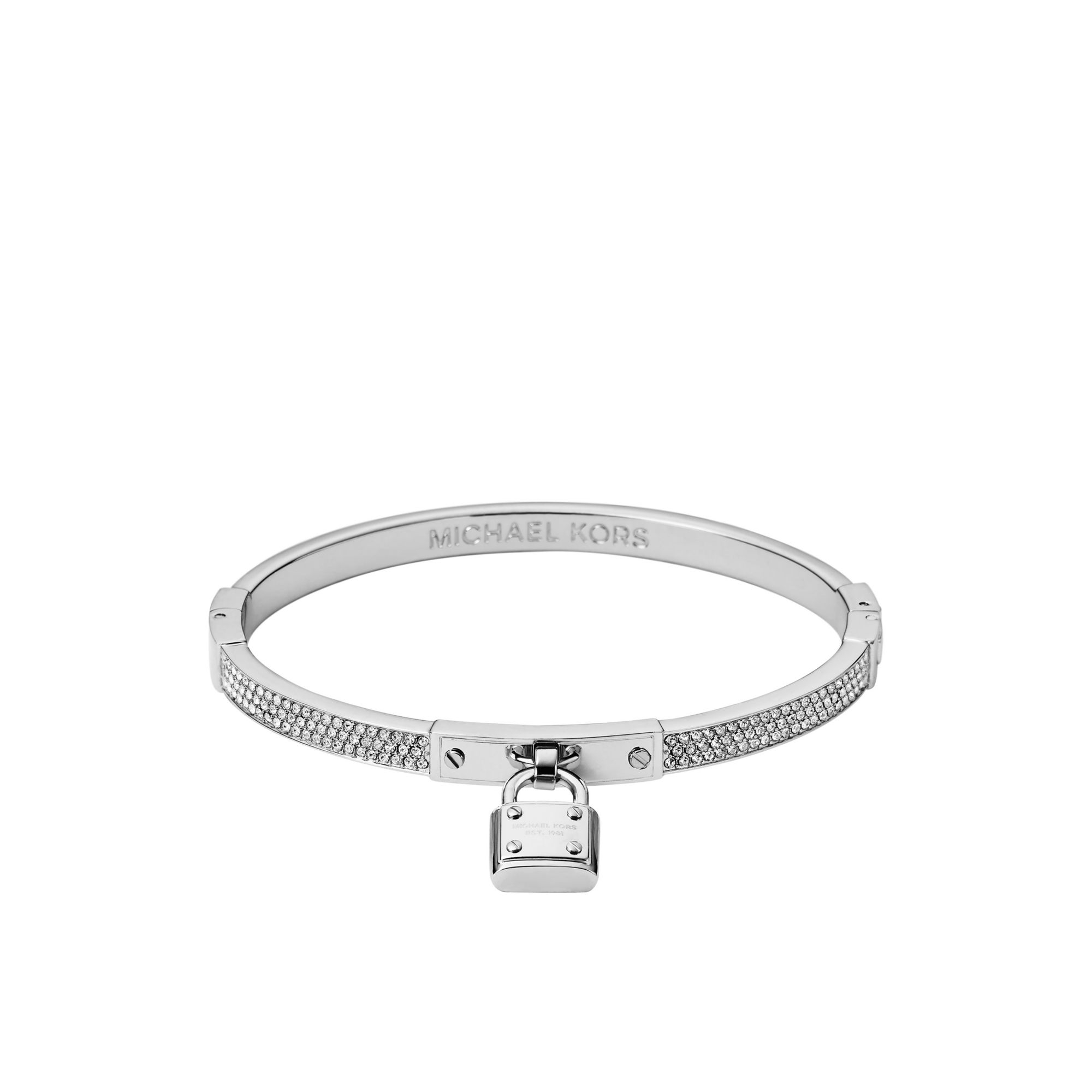 michael kors pav padlock silver tone bracelet in metallic lyst. Black Bedroom Furniture Sets. Home Design Ideas