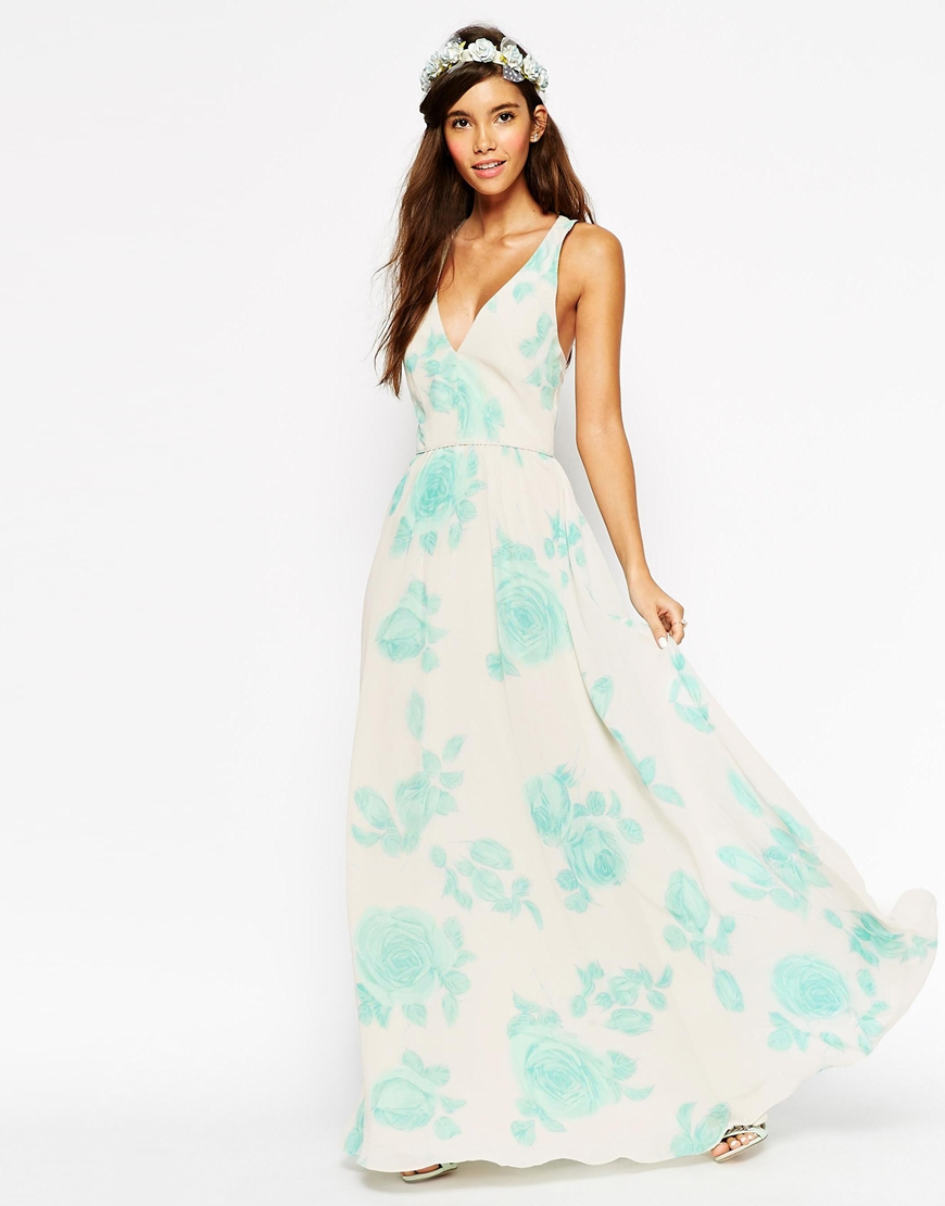 asos wedding maxi dress in watercolour mint rose print in