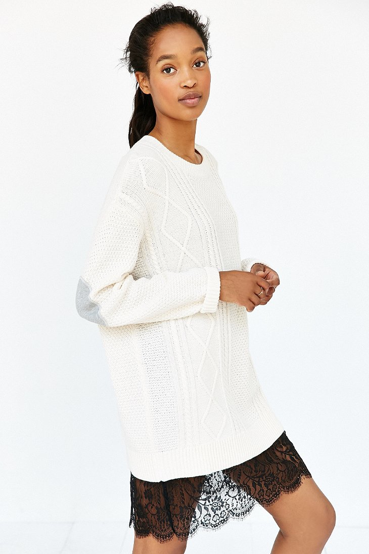 Lyst - BDG Elbow Patch Sweater in White 7f69b9378