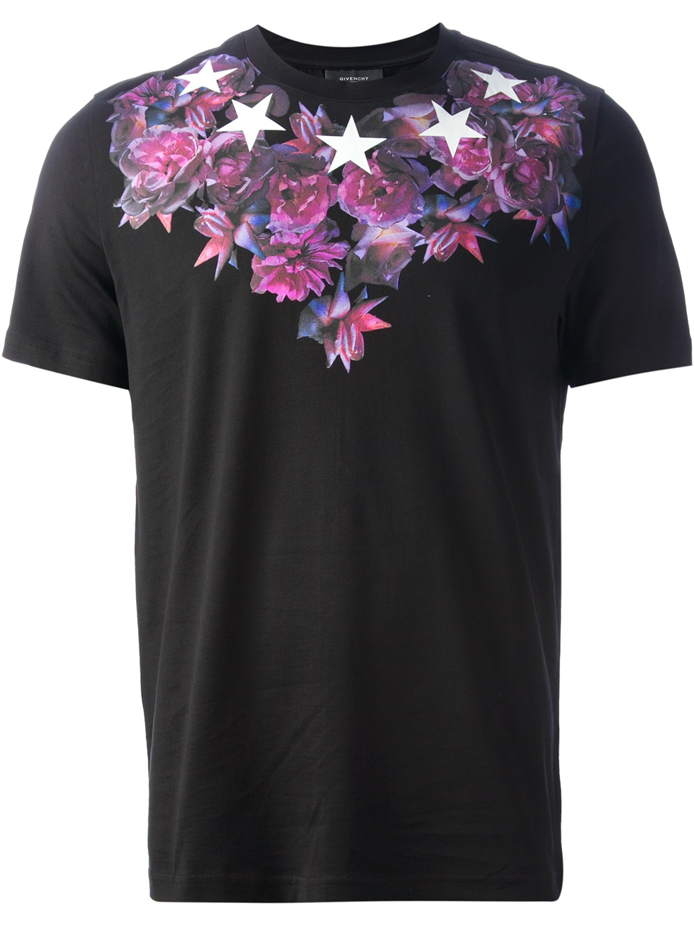 Lyst givenchy flower and star print tshirt in black for men for Givenchy 5 star shirt