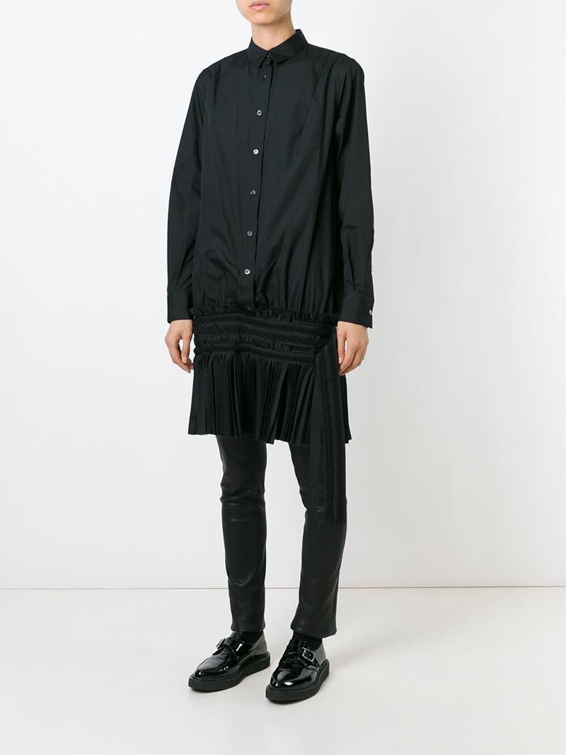 Lyst sacai pleated hem shirt dress in black for Black pleated dress shirt