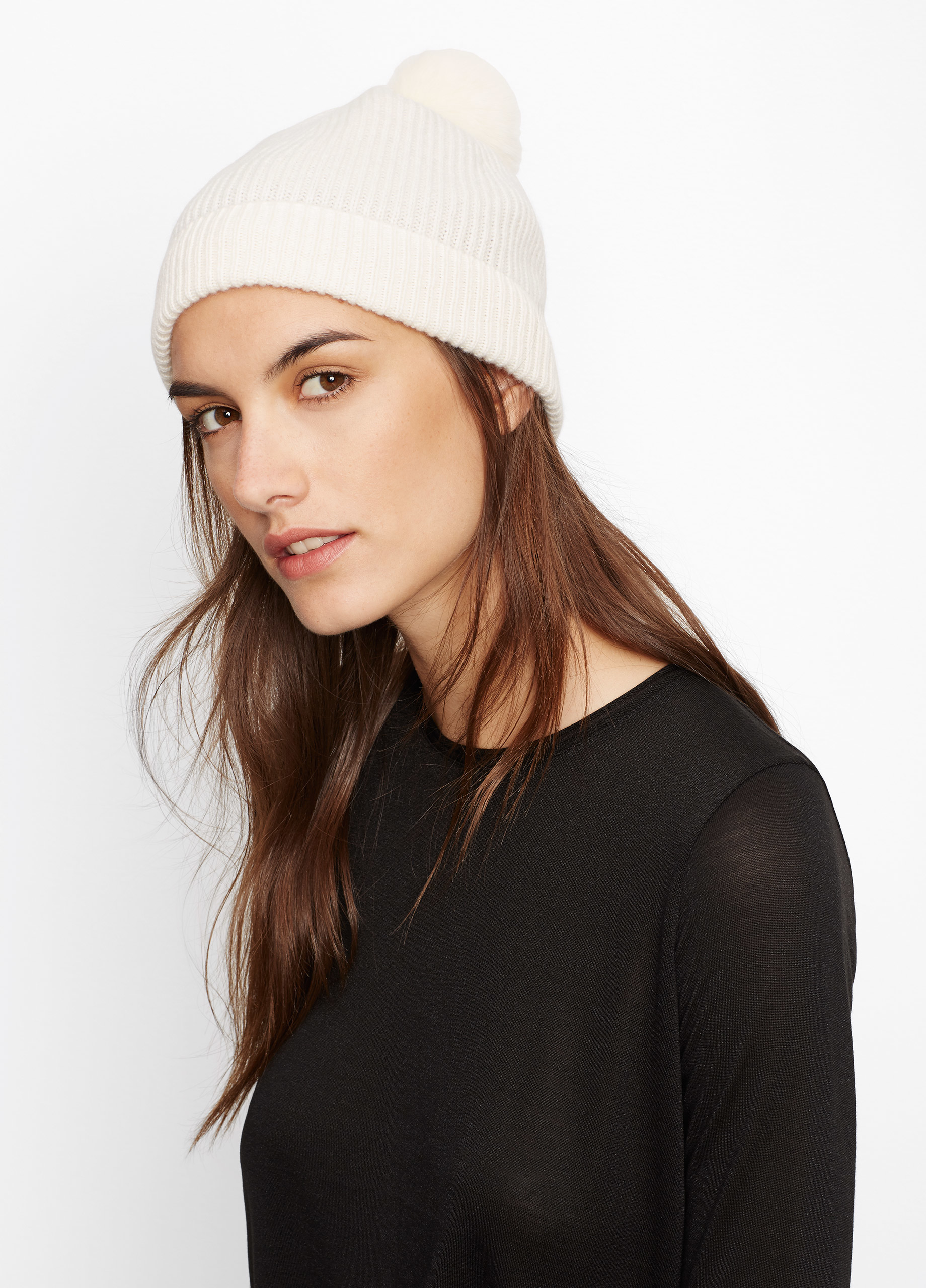 Lyst - Vince Cashmere Beanie With Rabbit Fur Pom in White 7fc37d5e4fa