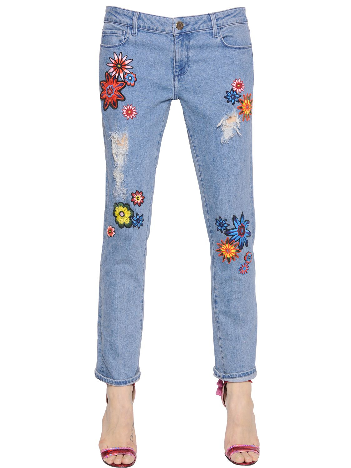 Lyst House Of Holland Flower Patches On Boyfriend Denim