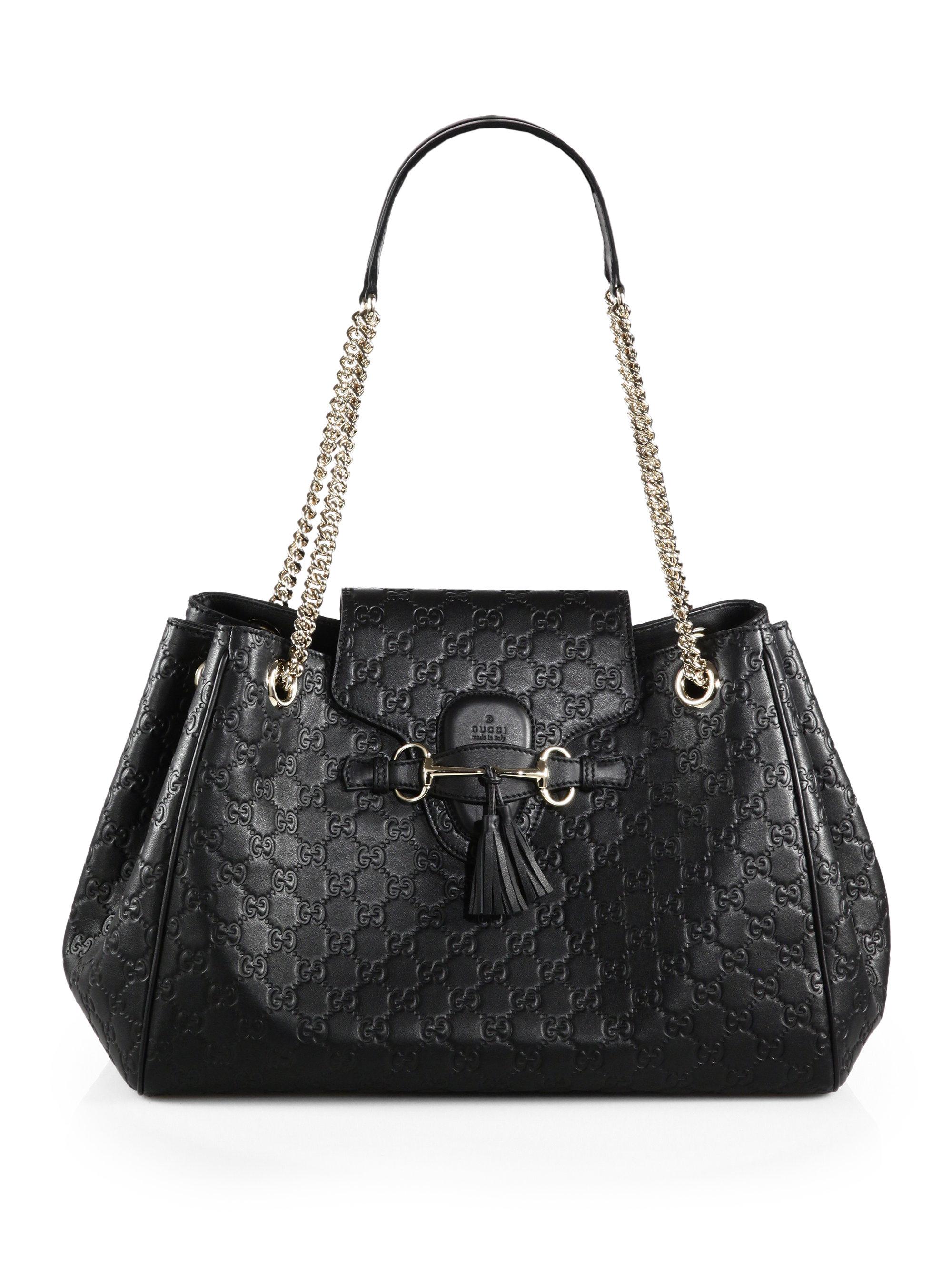gucci emily ssima leather shoulder bag in black lyst