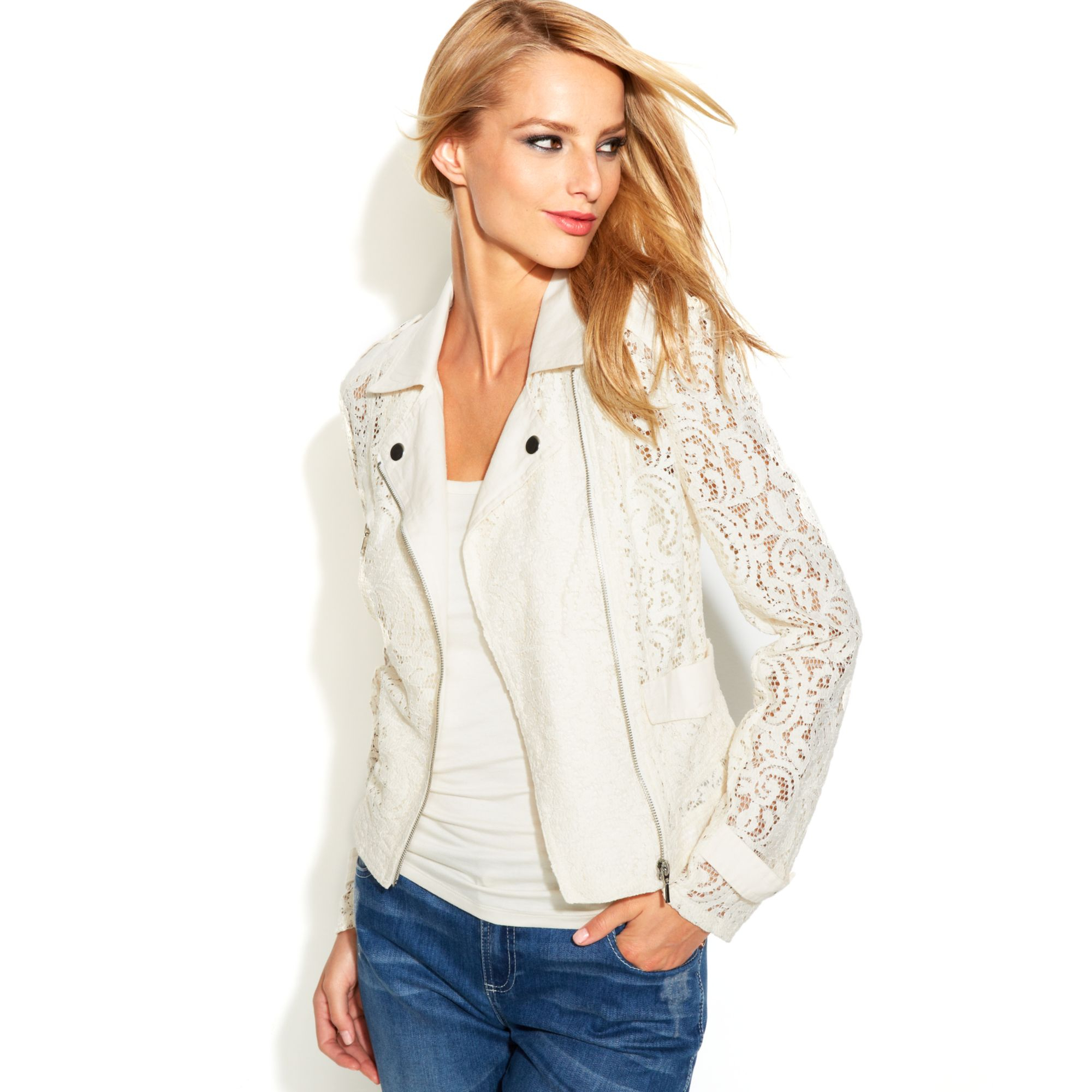 Lyst - INC International Concepts Asymmetrical Lace Moto Jacket in White 009022312