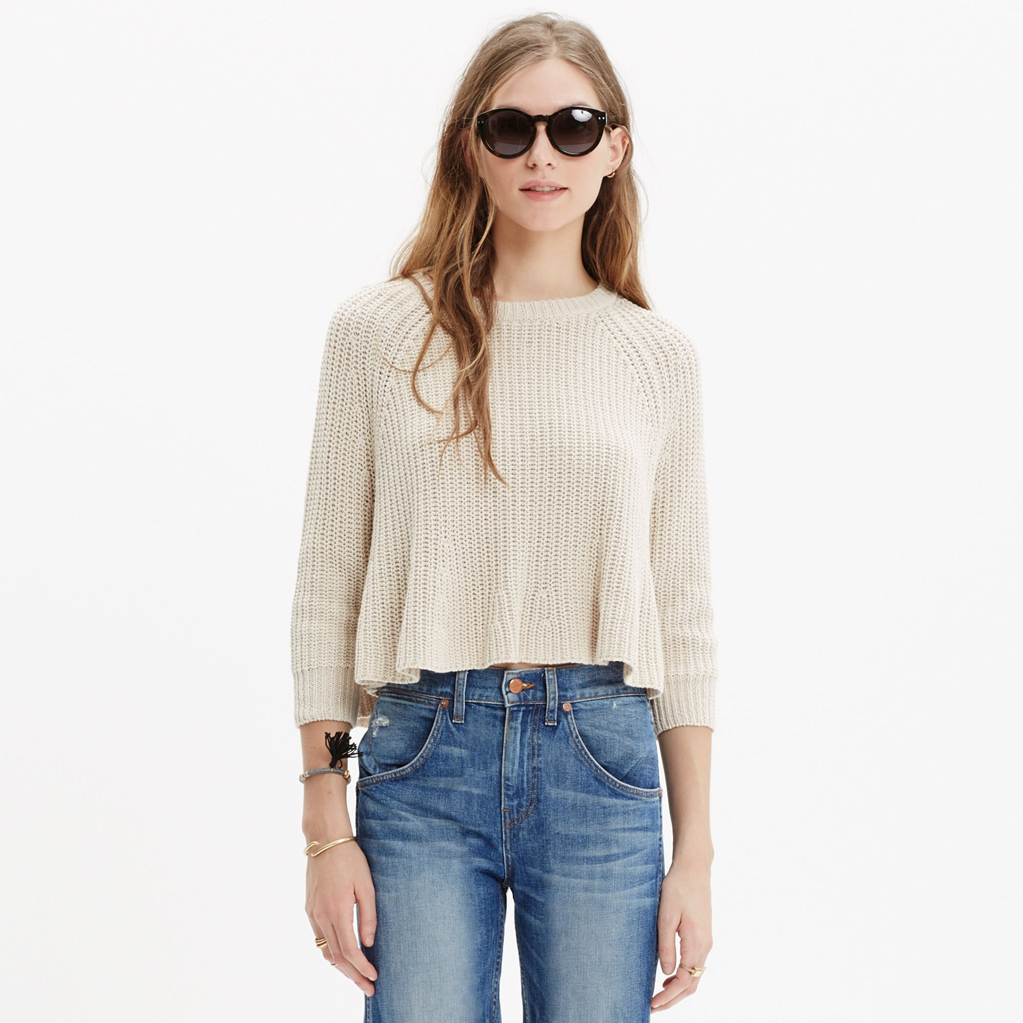 Madewell Swing Crop Sweater in Natural | Lyst