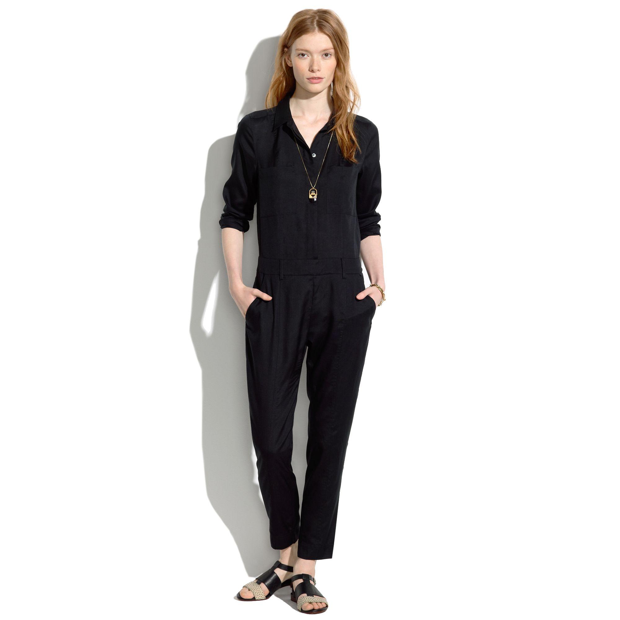 da0118ebde5 Lyst - Madewell Silk Harper Jumpsuit in Black