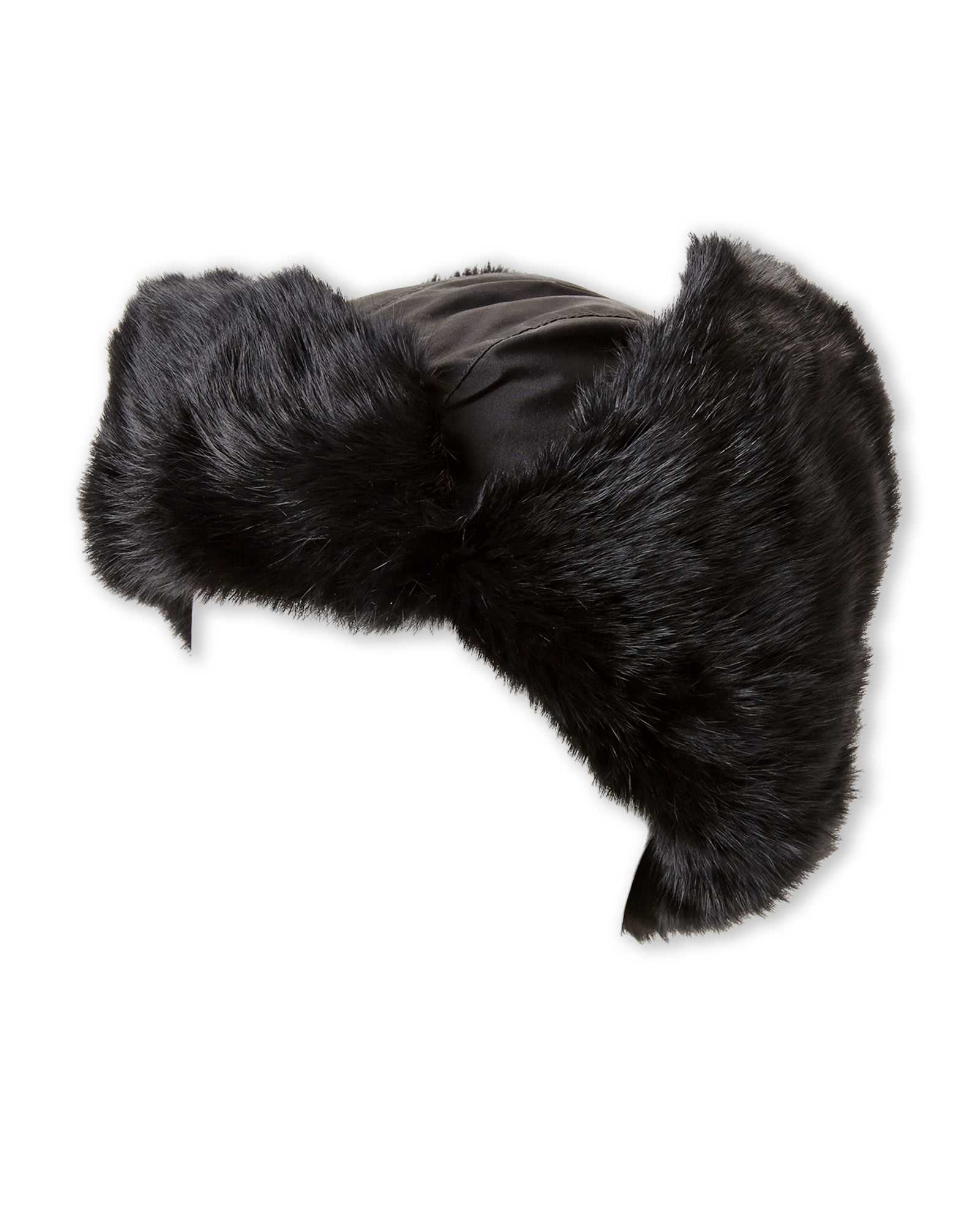 b6a4e673c61 Lyst - Crown Cap Real Rabbit Fur Lined Bomber Hat in Black for Men