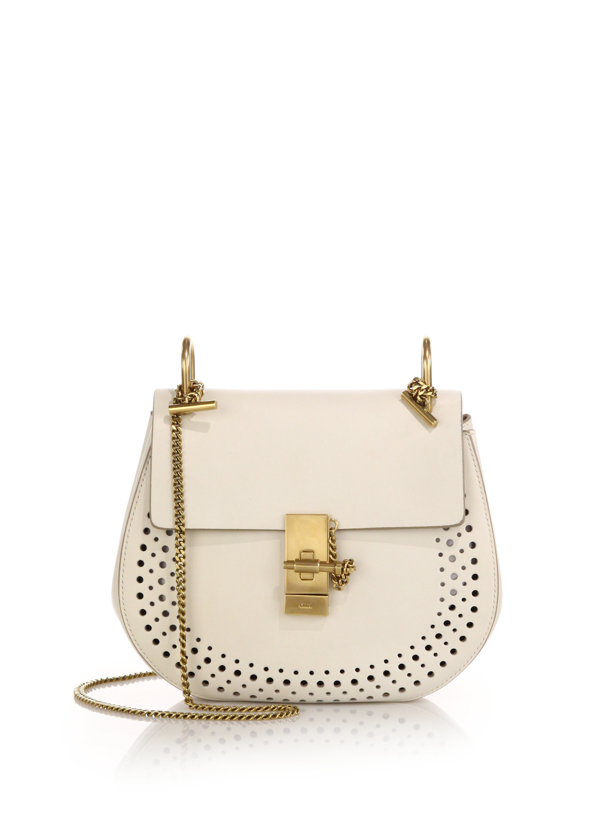 Chlo�� Drew Small Perforated Leather Shoulder Bag in Beige (lace ...