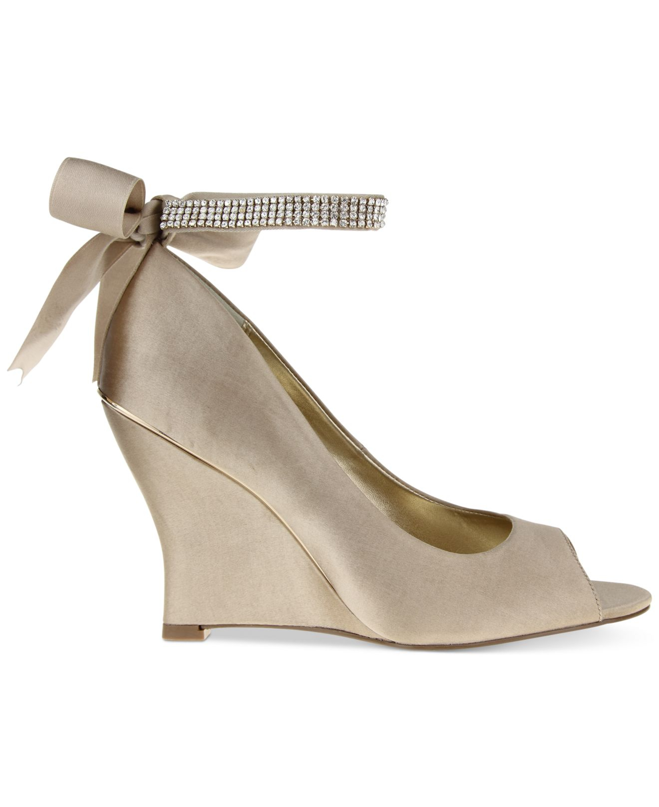 evening wedges in gold chagne lyst