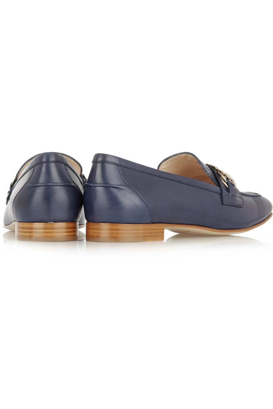 bf9f55b3a20 Tod s Chain-Embellished Leather Loafers in Blue - Lyst