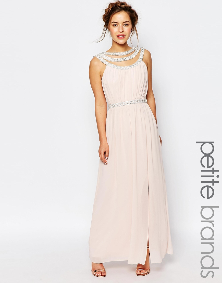 tfnc london wedding embellished maxi dress in pink lyst With dressy maxi dresses for wedding