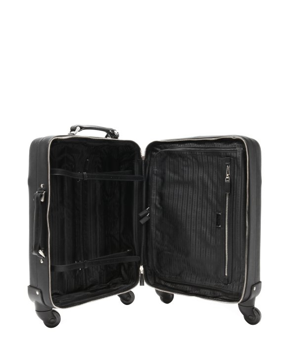 Prada Black Saffiano Leather Carry-on Rolling Suitcase in Black ...