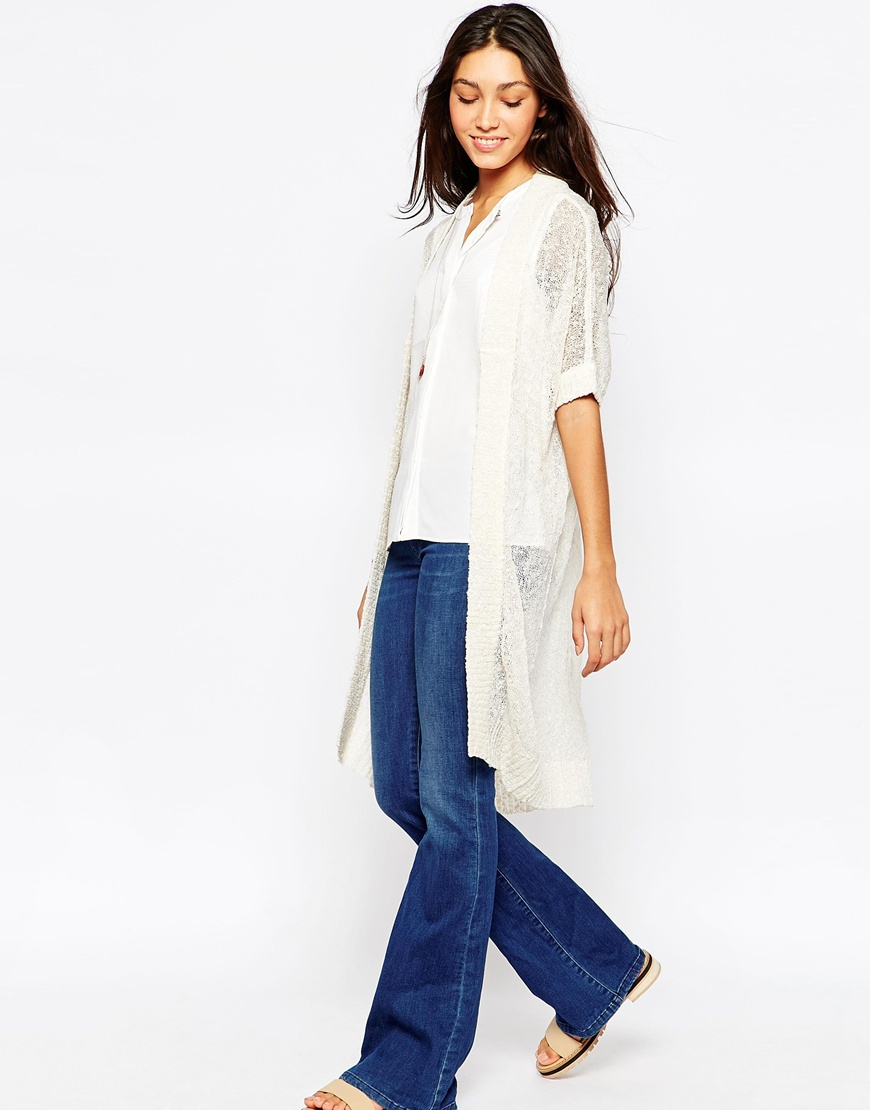 Vero moda Short Sleeve Long Line Cardigan in White | Lyst
