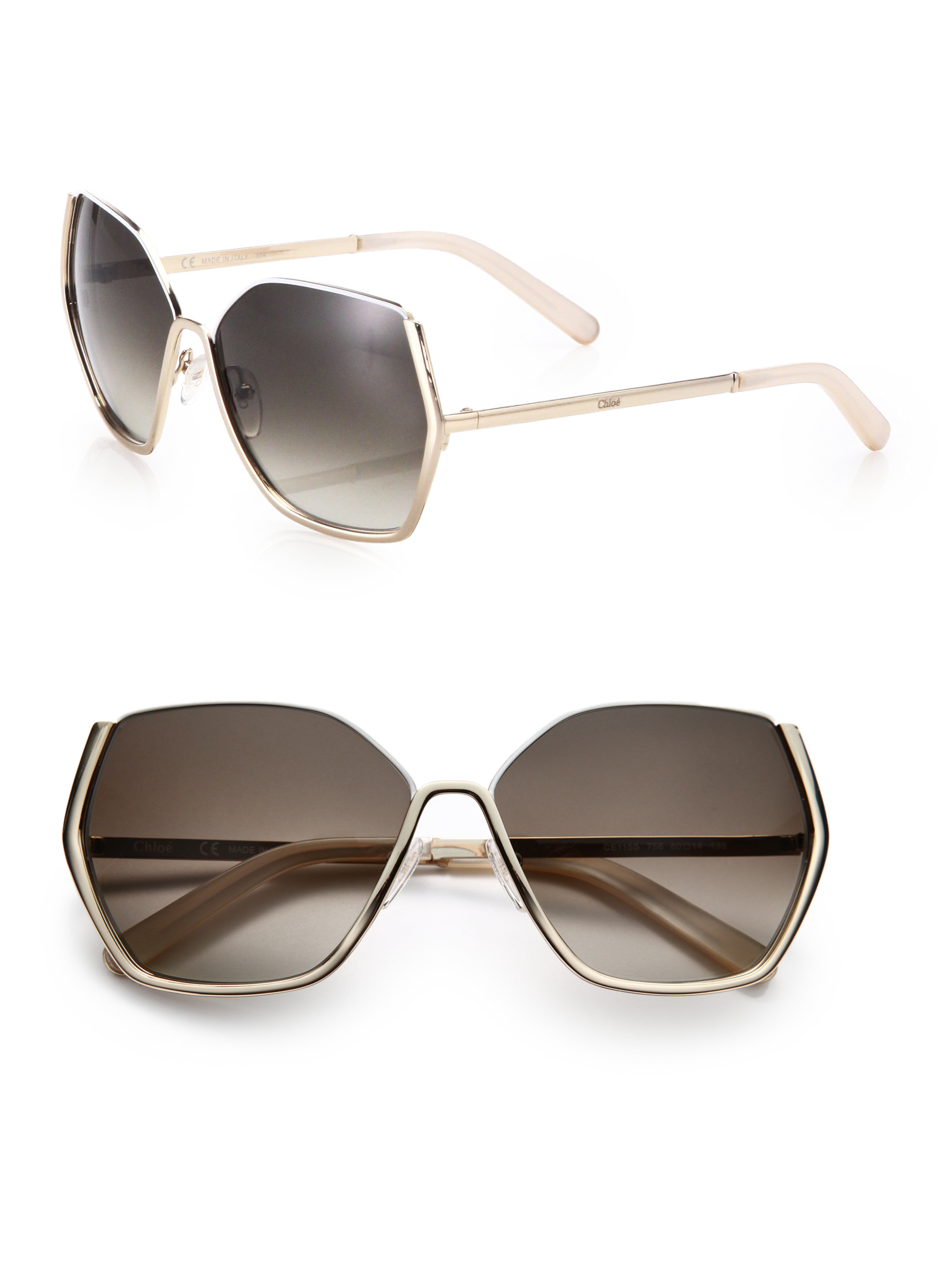 Chloe Gold Frame Sunglasses : Chloe 60mm Square Sunglasses in Metallic Lyst