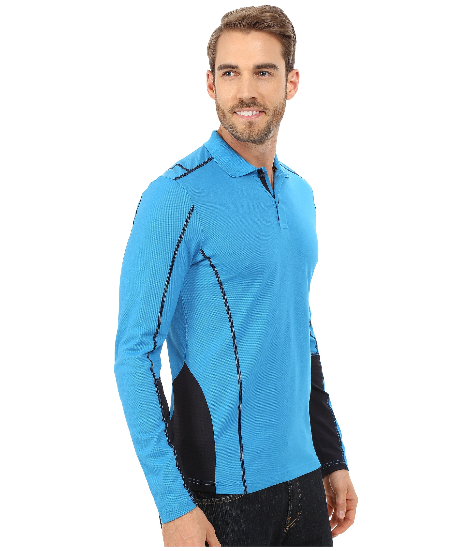 ... Leisure Ralph Lauren Men Mesh Cotton Half-zip Sweaters Blue ...
