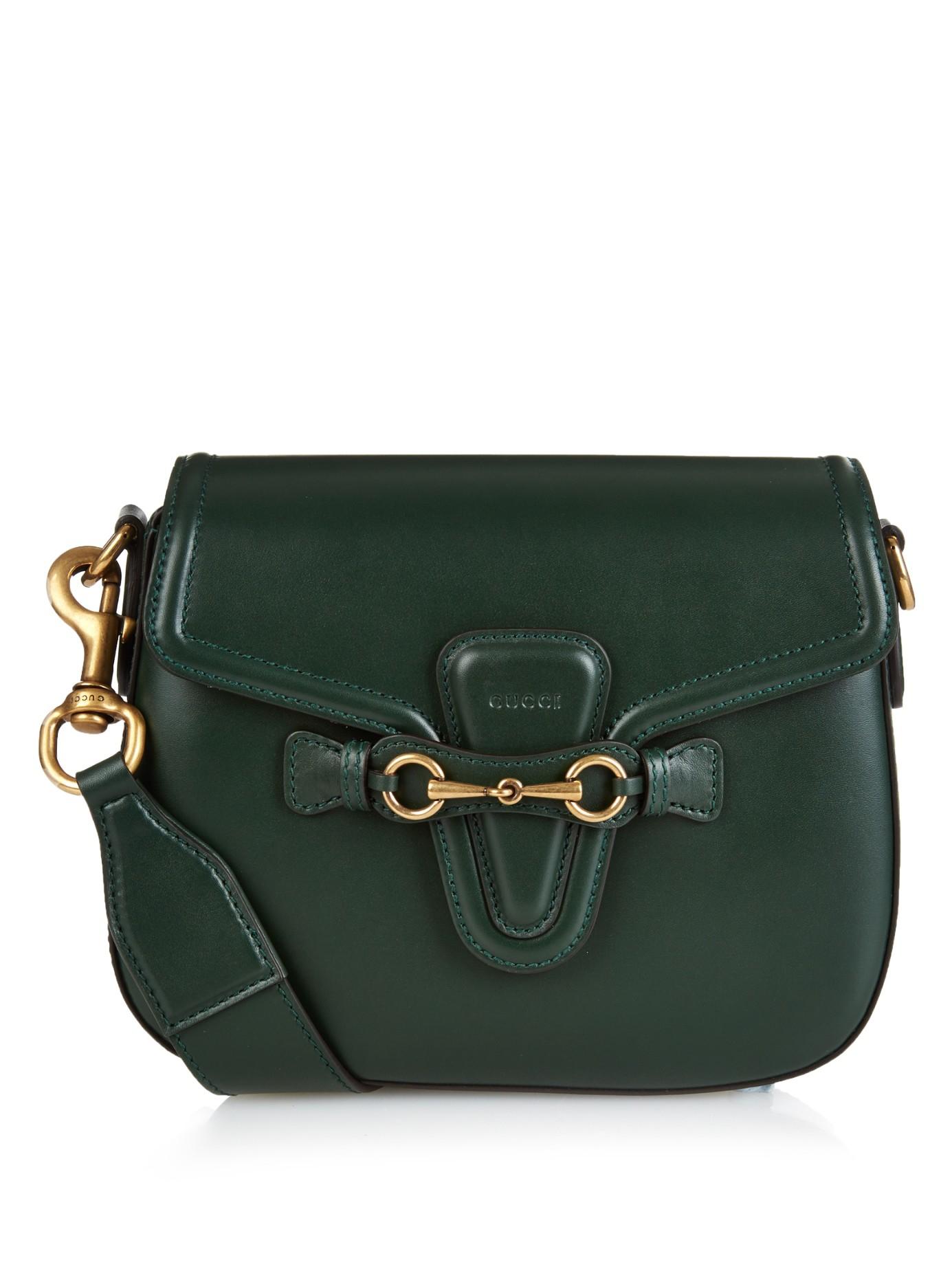 Lyst - Gucci Lady Web Medium Leather Cross-body Bag in Green 85951c2b709e1