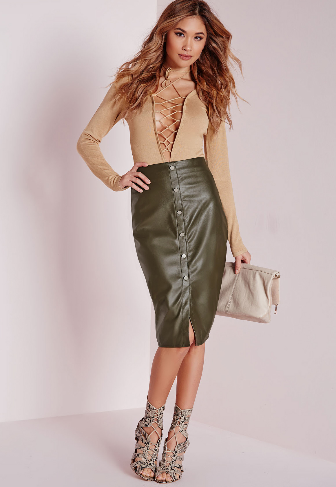 Missguided Button Front Faux Leather Midi Skirt Khaki in Natural ...