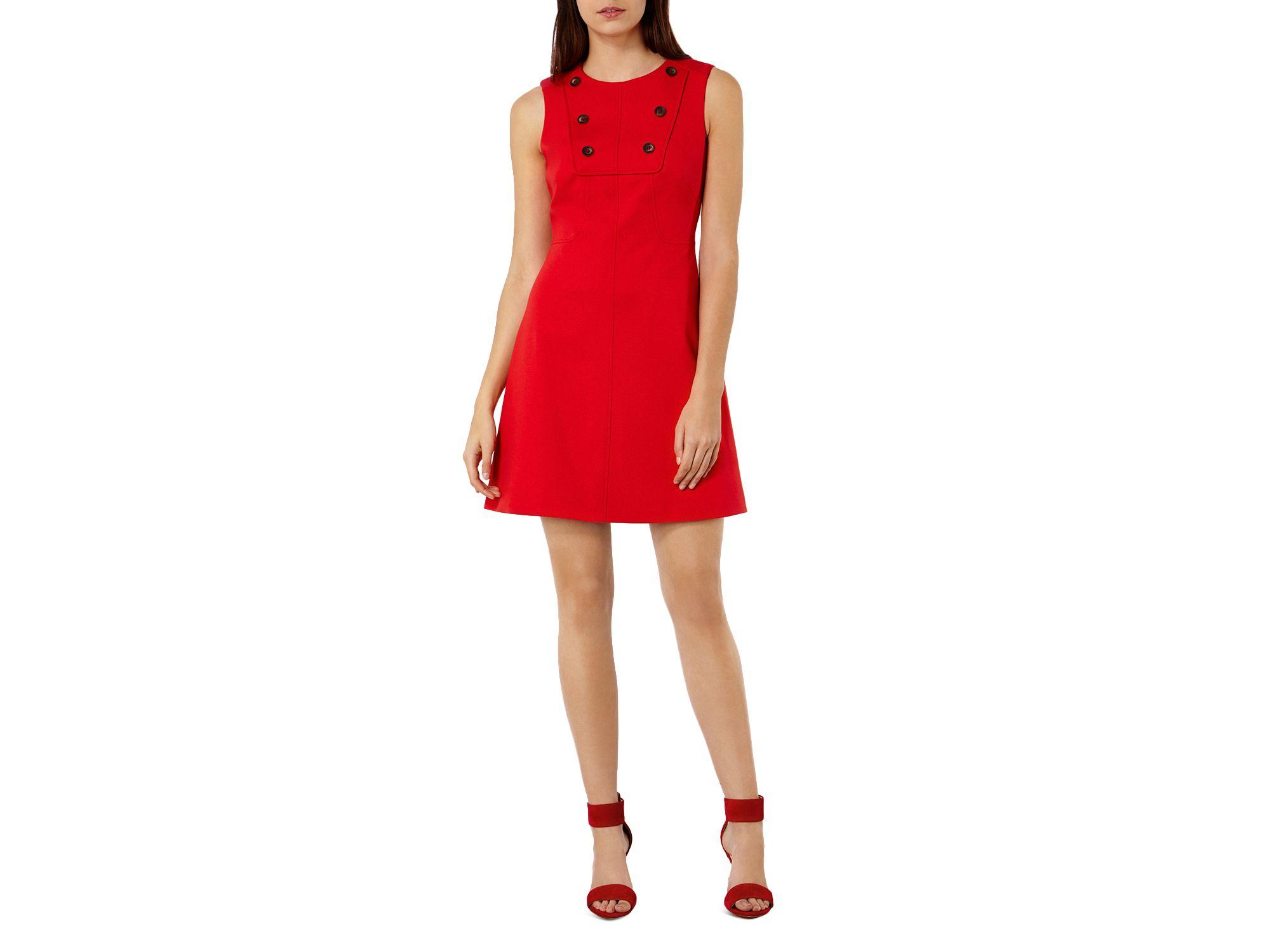 Karen millen button detail ponte dress in red lyst